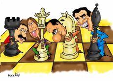 Alfons�n, Vidal, Scioli y Massa hacen sus jugadas en el tablero provincial (Dibujo: NOVA)