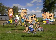 Mar�a Eugenia Vidal, Felipe Sol� y An�bal Fern�ndez, en pleno galope de campa�a, buscan atrapar el voto ligado a la producci�n agropecuaria en la provincia de Buenos Aires (Dibujo: NOVA).