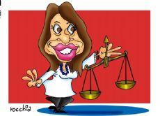 La reaparici�n p�blica de la ex presidenta CFK fue ante la justicia, pero algunos ya la mencionan como candidata (Dibujo: NOVA)